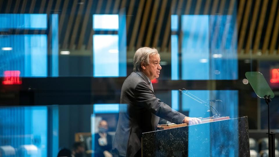 United Nations Secretary General Antonio Guterres speaks during the 75th annual UN General Assembly, which is being held mostly virtually due to the coronavirus disease (Covid-19) pandemic in the Manhattan borough of New York City, New York, US.