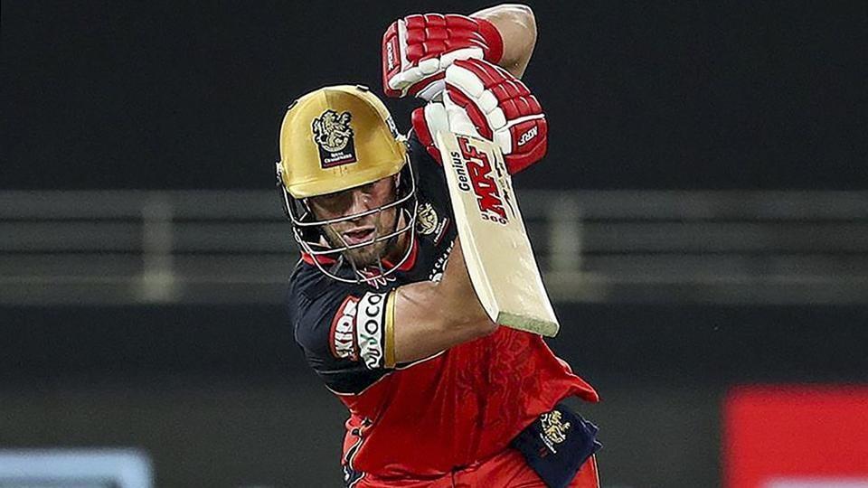 Royal Challengers Bangalore batsman AB de Villiers plays a shot during a cricket match of IPL 2020 against Sunrisers Hyderabad, at Dubai International Cricket Stadium.
