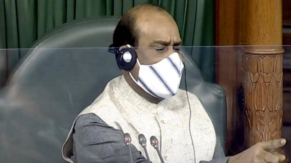 Lok Sabha Speaker Om Birla speaks during the Monsoon Session of Parliament, in New Delhi on Tuesday.