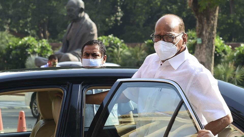 NCP Chief Sharad Pawar at Parliament House during the ongoing Monsoon Session.