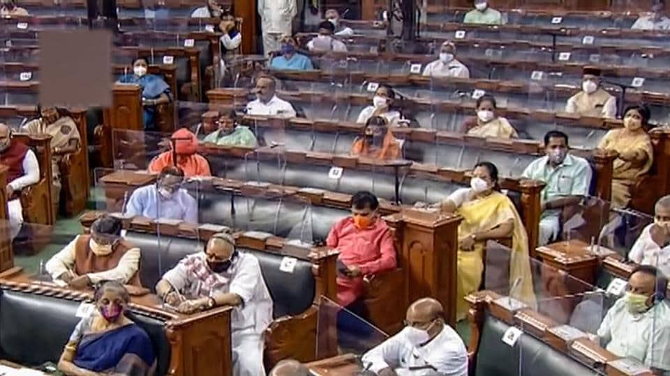 Opposition members shouted slogans and came near the well of the House to register their protests in support of farmers, who are agitating in Punjab, Haryana and some other places.