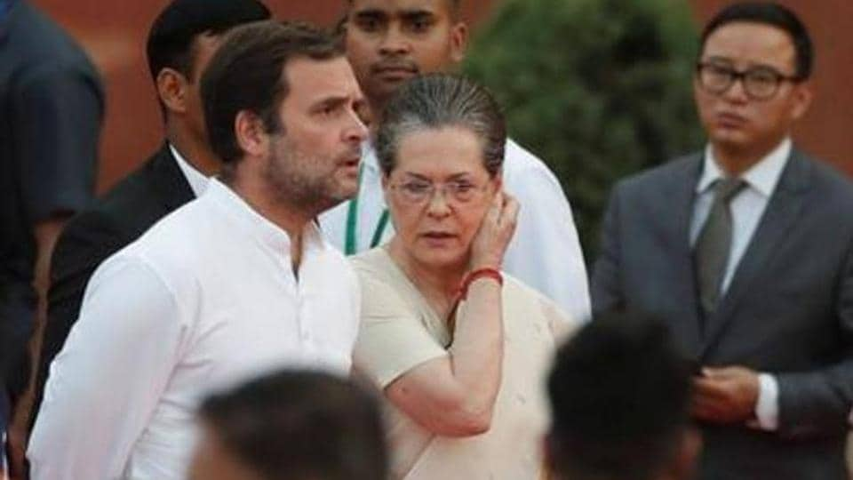 Congress party Sonia Gandhi and Rahul Gandhi at the presidential palace in New Delhi in May 2019.