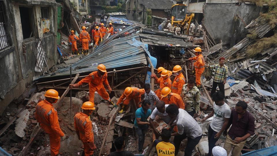 NDRF teams conducting rescue operations at the collapse site after a 3-storey building collapsed at Patel compound, Bhiwandi in Thane.