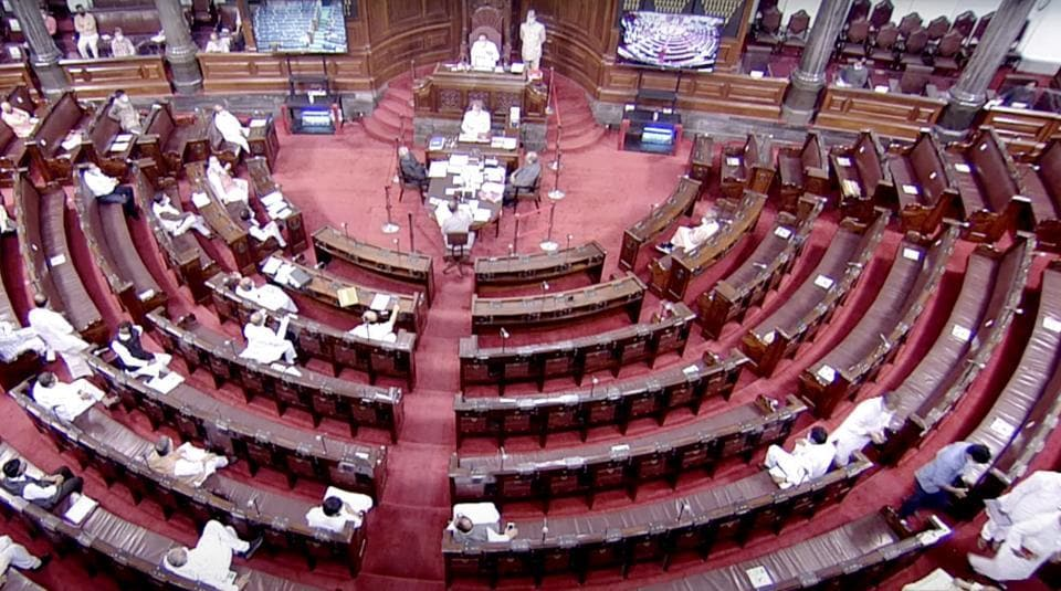 A general view of Rajya Sabha during the Monsoon Session of Parliament, in New Delhi on Tuesday.