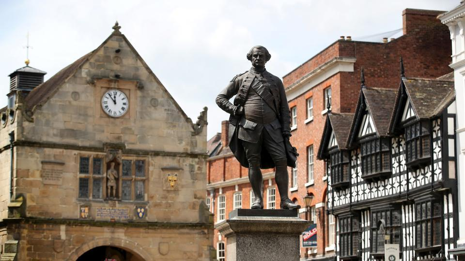 A statue to Robert Clive in Shrewsbury, Britain. His house in Claremont, Sussex, purchased from wealth he made in India and the Powis Castle in Wales, which has a large collection of Indian items are among properties managed by National Trust.