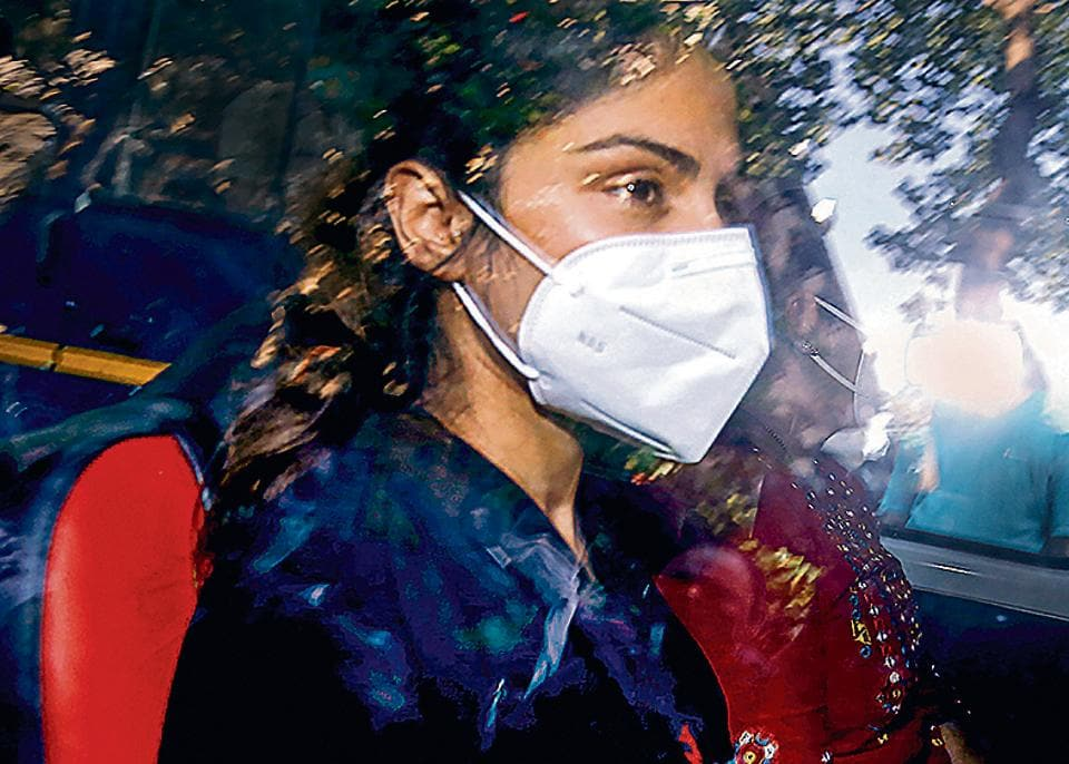 Bollywood actor Rhea Chakraborty is seen in this file photo  in Mumbai. Chakraborty was arrested on September 8 by the Narcotics Control Bureau (NCB)after three days of questioning over the drug abuse case in connection with the death of Sushant Singh Rajput