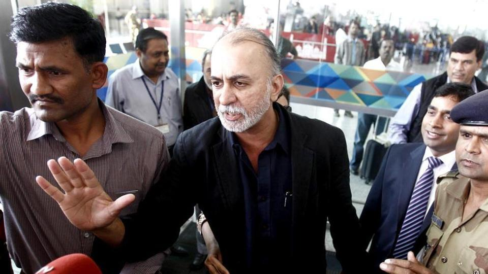 Tarun Tejpal, founder and editor-in-chief of Tehelka, speaks with the media at the airport on his way to Goa, in New Delhi (Reuters).