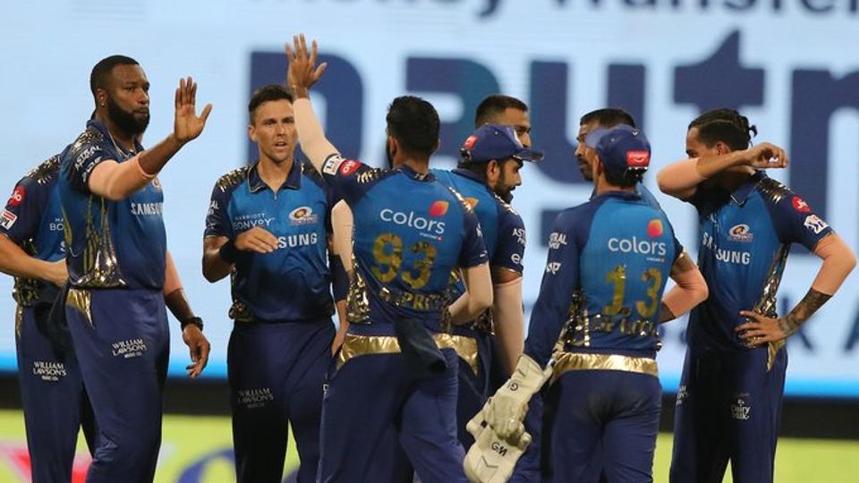 Mumbai Indians players celebrate a wicket against Kolkata Knight Riders.  (IPL/Twitter)