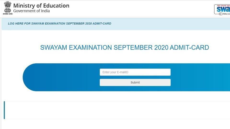 SWAYAM admit card 2020.