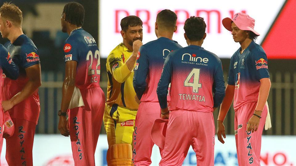 IPL 2020: MS Dhoni with the Rajasthan Royals players after CSK lost the match.