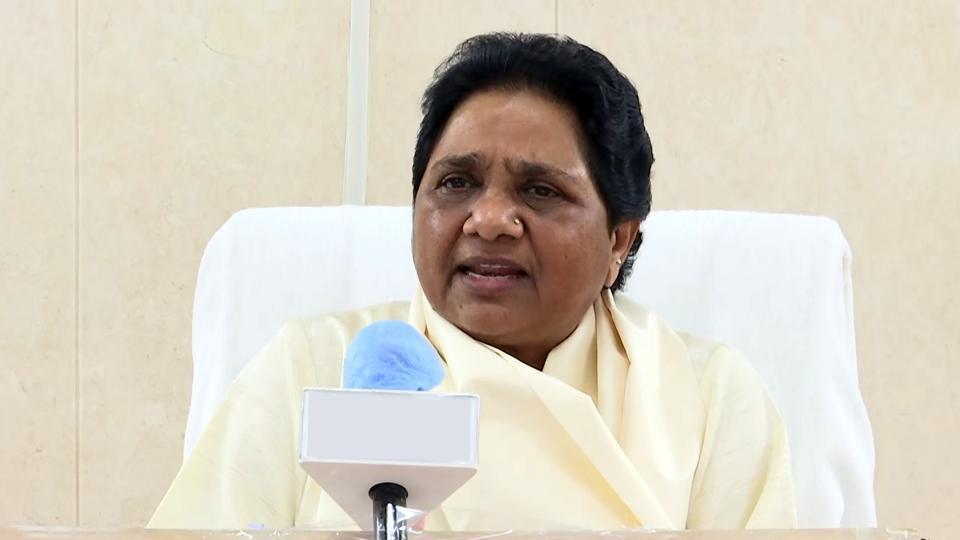 New Delhi, June 29 (ANI): BSP supremo Mayawati addresses a press conference, in New Delhi on Monday. (ANI Photo)