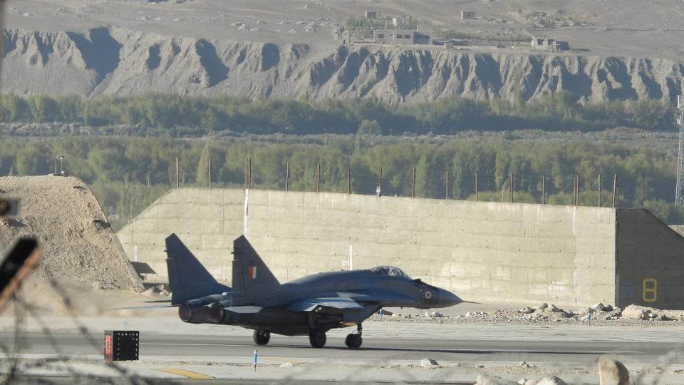 An IAF fighter jet on the runway in Leh district on September 16.