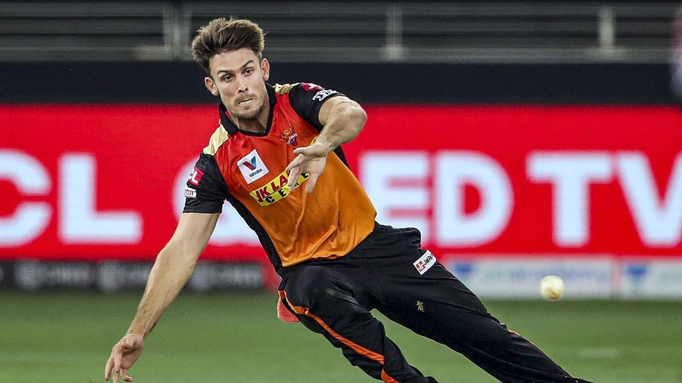 Dubai: Sunrisers Hyderabad player Mitchell Marsh tries to catch ball during a cricket match of IPL 2020 against Royal Challengers Bangalore, at Dubai International Cricket Stadium, Dubai, United Arab Emirates, Monday, Sept. 21, 2020.