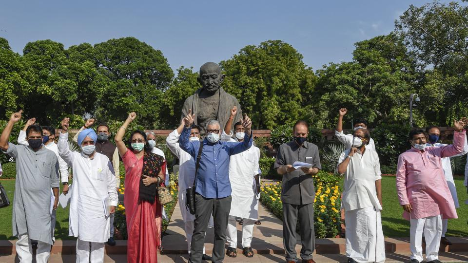 Opposition MPs staging a protest at Parliament on Sunday, after two farm bills were passed in the Rajya Sabha.