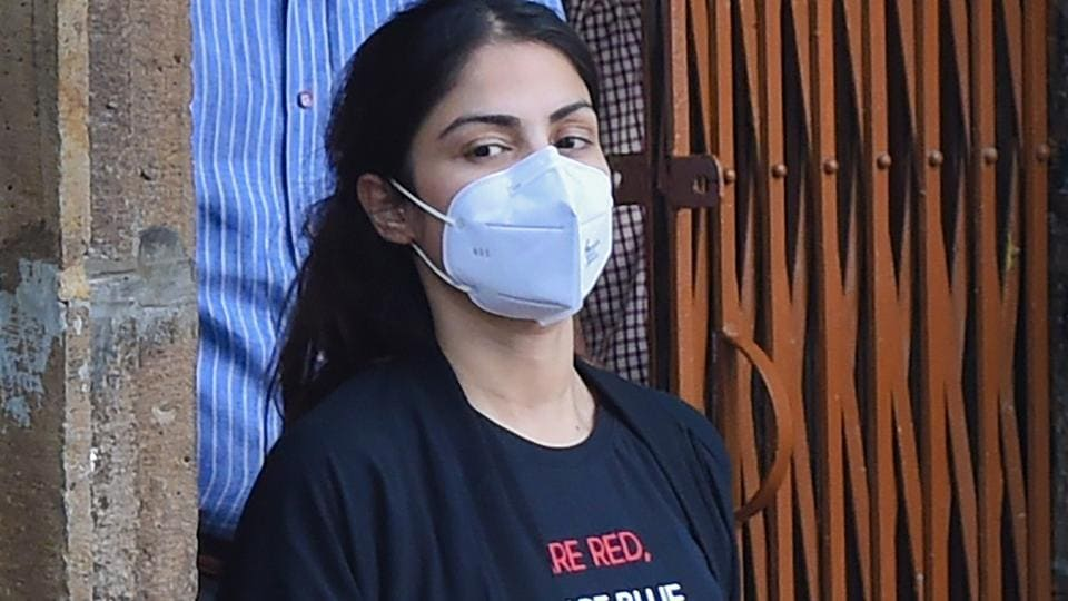 Narcotics Control Bureau officers take Bollywood actress Rhea Chakraborty, who has been sent in judicial custody till September 22 by a local court, to Byculla women jail, in Mumbai.