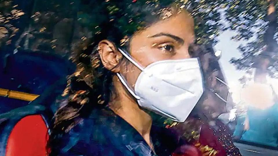 Rhea Chakraborty was arrested by the anti-drugs agency on September 8. Her brother Showik is also arrested in the case. Both of them have moved the high court after their bail pleas were rejected by a special NDPS court on September 11. (PTIPhoto)