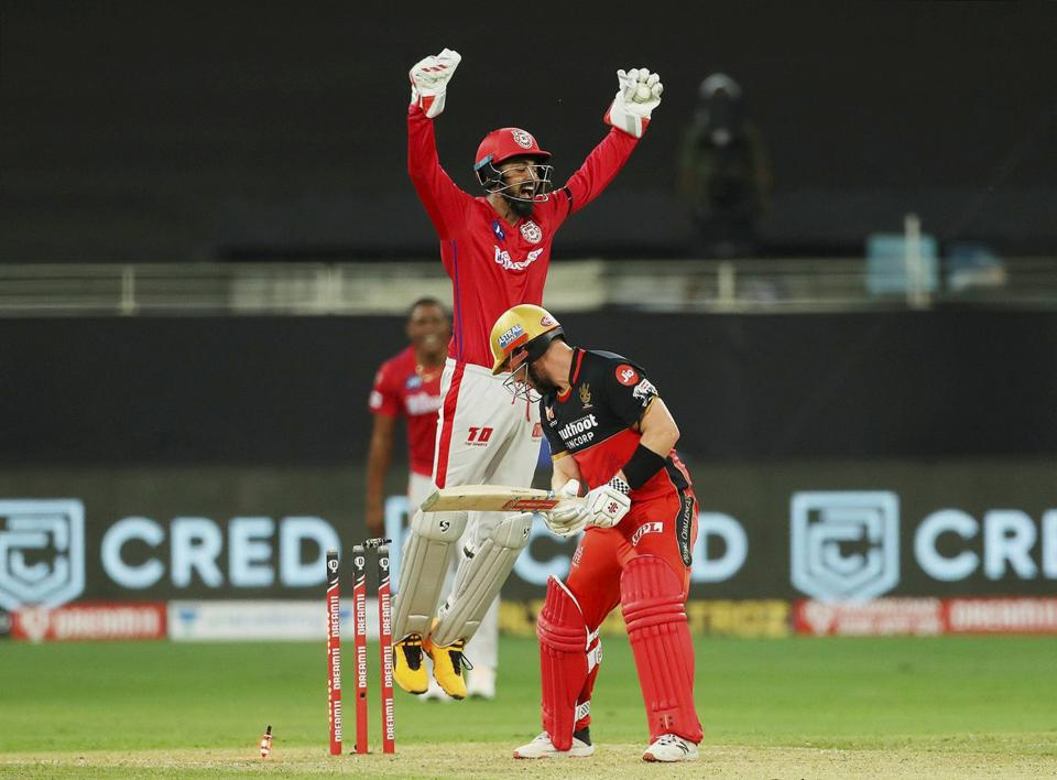 Royal Challengers Bangalore (RCB) batsman Aaron Finch looks on after being dismissed during IPL 2020 cricket match against Kings XI Punjab, at Dubai International Cricket Stadium in Dubai, Thursday, Sept. 24, 2020. (PTI Photo/Sportzpics)(PTI24-09-2020_000239B) (PTI)