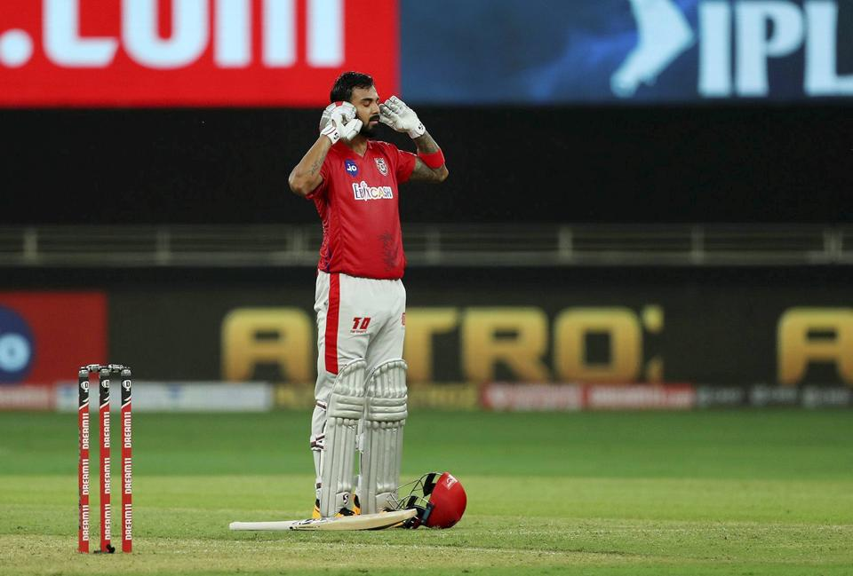 Kings XI Punjab skipper KL Rahul after scoring a century during IPL 2020 cricket match against Royal Challengers Bangalore, at Dubai International Cricket Stadium in Dubai, Thursday, Sept. 24, 2020. (PTI Photo/Sportzpics)(PTI24-09-2020_000218A) (PTI)