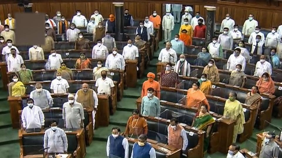 Parliamentarians in the Lok Sabha after it adjourned sine die at Parliament House on Wednesday.