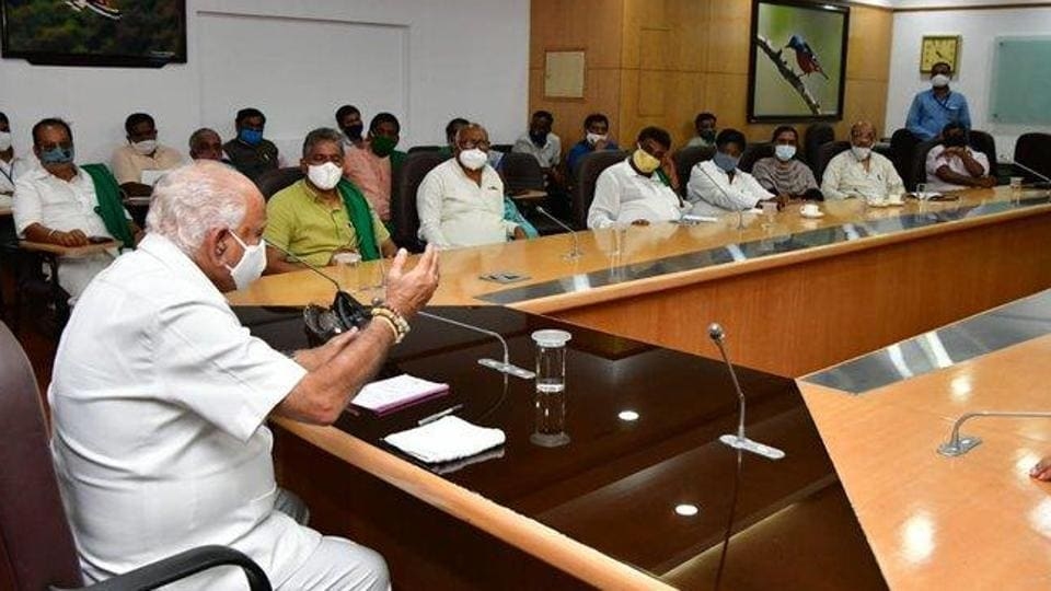 Karnataka chief minister BS Yediyurappa meeting farmer leaders on Sept 25, 2020. (Photo @CMofKarnataka)