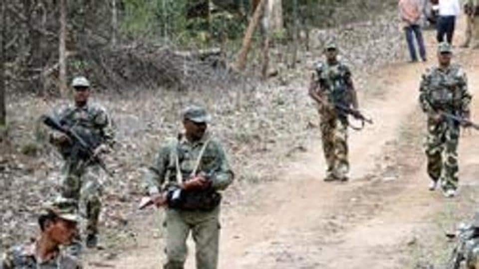 Indian paramilitary soldiers on patrol.