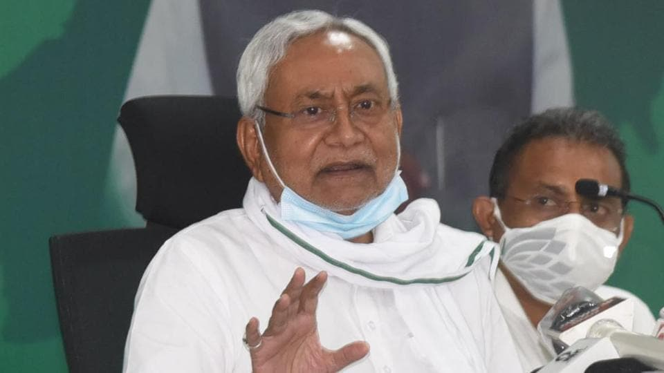 Bihar chief minister and JD(U) national president Nitish Kumar addressing a press conference at party office in Patna, Bihar.