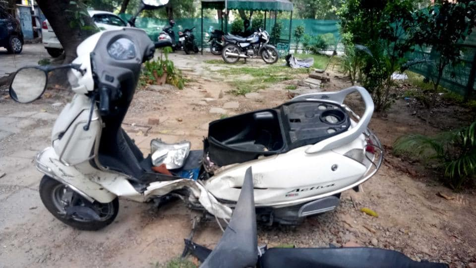 The victim's mangled scooter after it was hit by an SUV in Sector 22, Chandigarh.