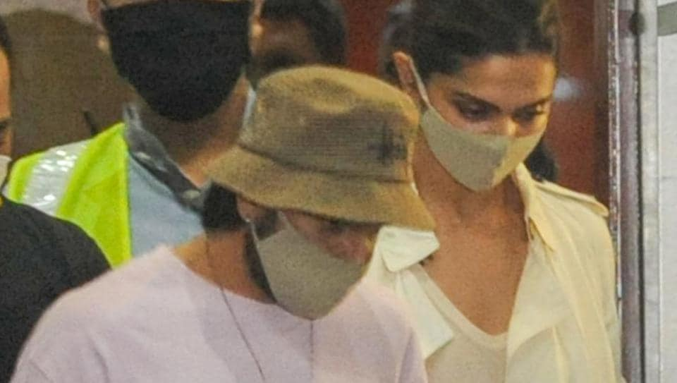 Deepika Padukone and Ranveer Singh arrive at Mumbai International Airport, after the former was summoned by NCB.