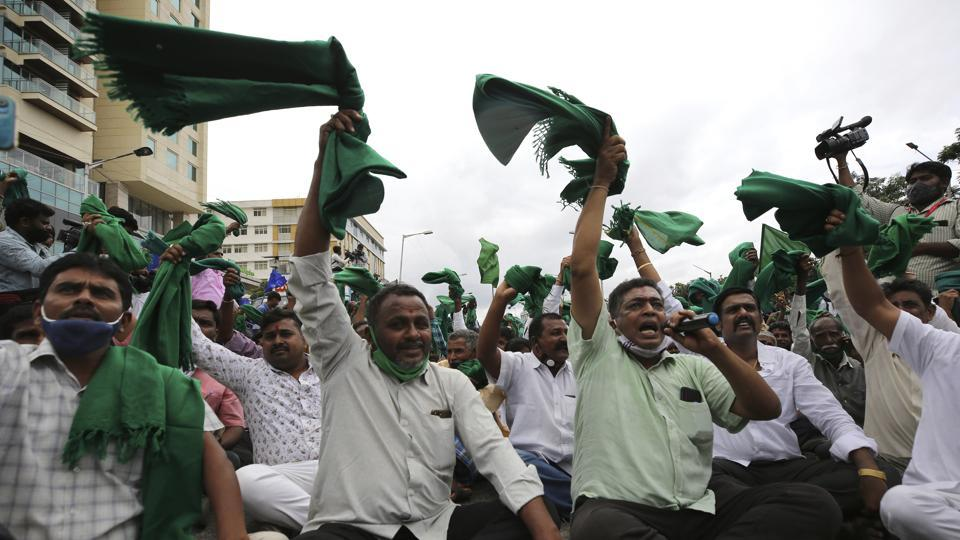 Indian farmers raise their shawls and shout anti-government slogans during a protest against farm bills in Bengaluru.