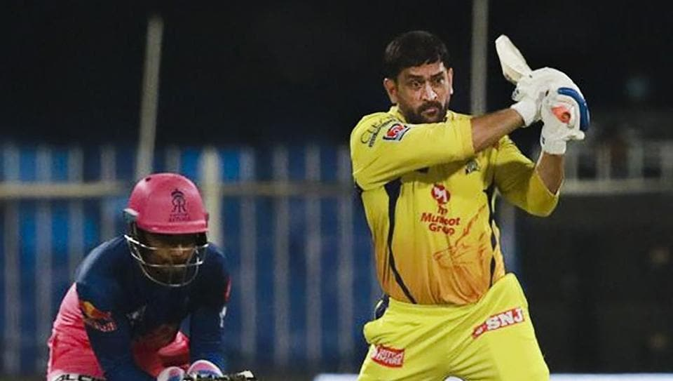 Chennai Super Kings captain Mahendra Singh Dhoni plays a shot during IPL 2020 cricket match against Rajasthan Royals.