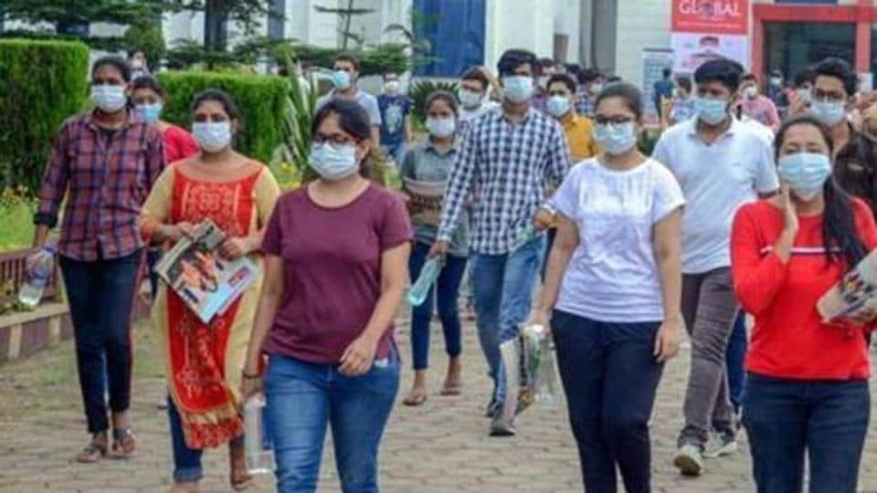 Jabalpur: Students leave an examination centre after appearing for the JEE 2020 entrance papers, amid the ongoing coronavirus pandemic, in Jabalpur, Wednesday, Sept. 2, 2020. (PTI Photo)(PTI02-09-2020_000077B)