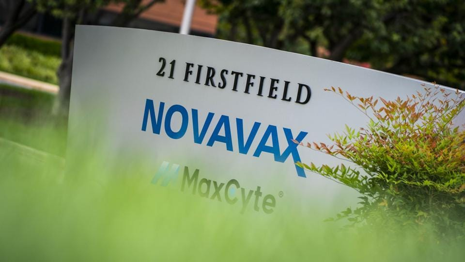 Signage is displayed outside the Novavax Inc. headquarters in Gaithersburg, Maryland, US.