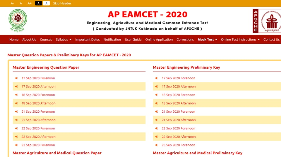 AP EAMCET answer key 2020.