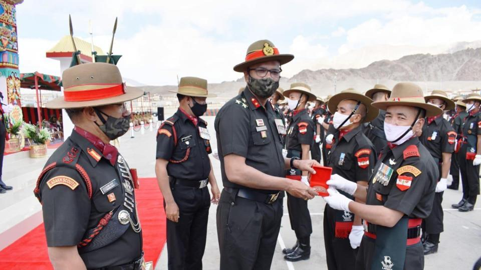 Attestation Parade of 131 young soldiers who joined Ladakh Scouts in Leh on Saturday.