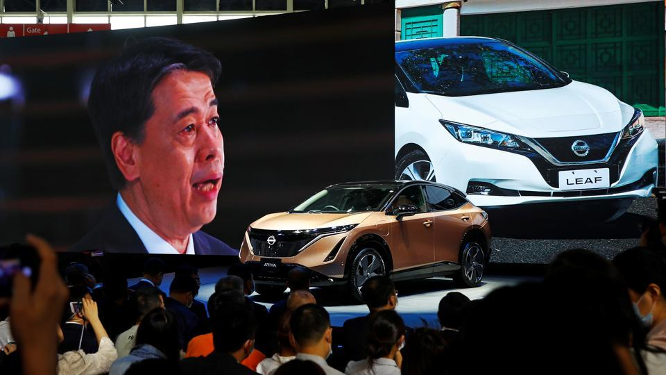 Nissan Chief Executive Officer Makoto Uchida speaks at Nissan booth via video link during the presentation of Nissan's Ariya model during the Beijing International Automotive Exhibition, or Auto China show, in Beijing, China September 26, 2020.