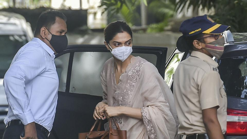 Bollywood actor Deepika Padukone arrives at the Narcotics Control Bureau (NCB) office for questioning in a drug case related to Sushant Singh Rajput's death in Mumbai.