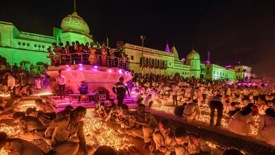 Earthen lamps are lit on the bank of Saryu River during Deepotsav celebrations in Ayodhya for the past few years. However, people will not be allowed to participate physically this year due to Covid 19.