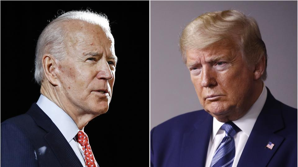 Former vice president Joe Biden in Wilmington on March 12, 2020 and president Donald Trump at the White House in Washington on April 5, 2020.
