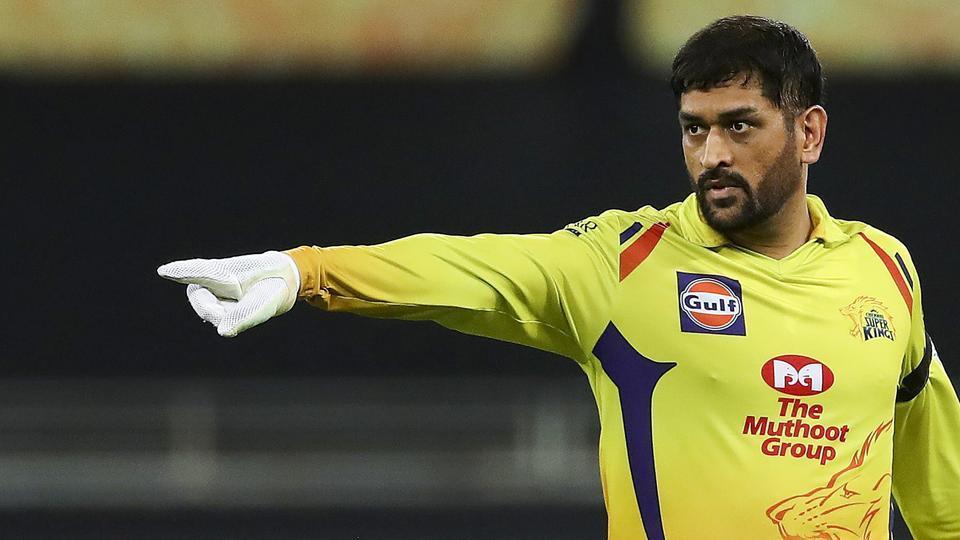 Chennai Super Kings (CSK) skipper MS Dhoni gestures during IPL 2020 cricket match against Delhi Capitals (DC).