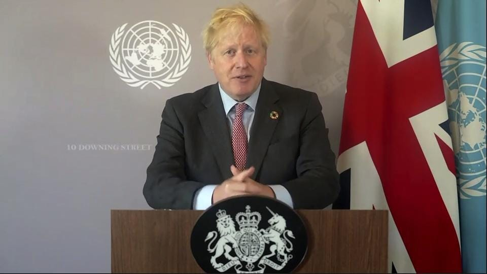 In this photo made from UNTV video, British Prime Minister Boris Johnson speaks in a pre-recorded message which was played during the 75th session of the United Nations General Assembly at UN Headquarters.