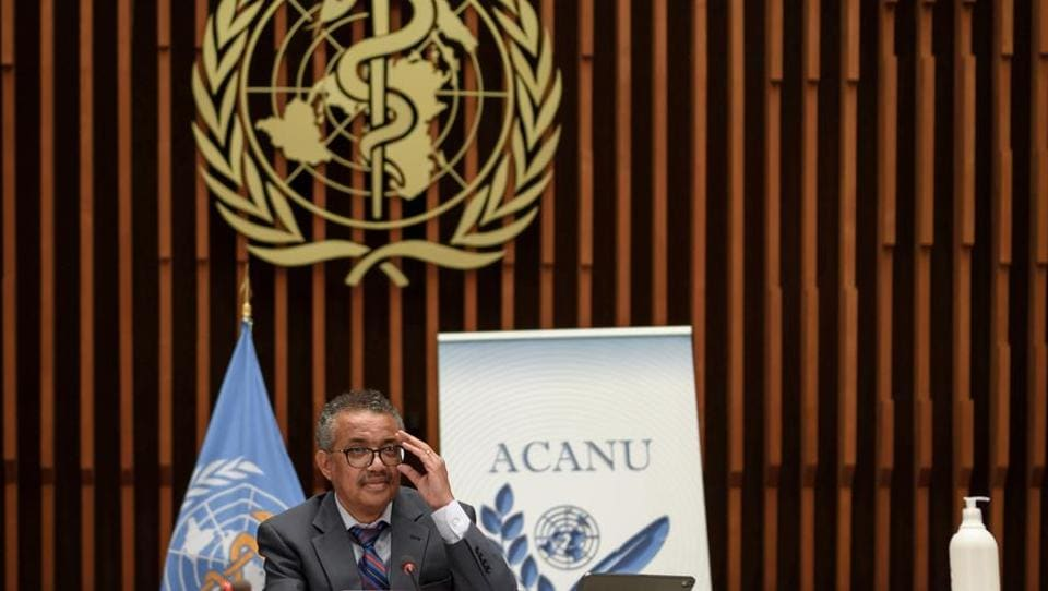 World Health Organization (WHO) Director-General Tedros Adhanom Ghebreyesus attends a news conference organized by Geneva Association of United Nations Correspondents (ACANU) amid the Covid-19 outbreak, at the WHO headquarters in Geneva Switzerland.
