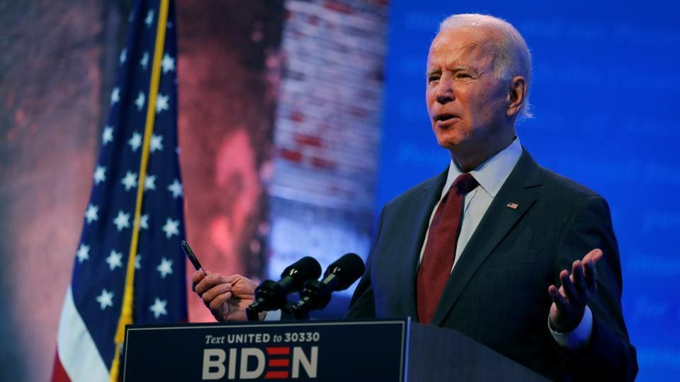 US Democratic presidential candidate and former Vice President Joe Biden delivers a speech on the US Supreme Court at the Queen Theater in Wilmington, Delaware, US on September 27, 2020.