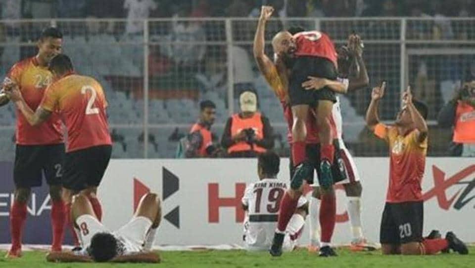 East Bengal celebrates 3-2 victory over Mohun Bagan at the I-League match, at Salt Lake stadium, in Kolkata, India, on Sunday, December 16, 2018.