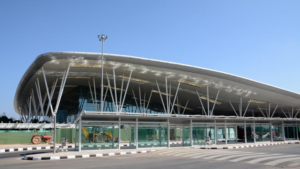 Terminal building of Kempegowda International Airport which is an international airport serving Bengaluru.