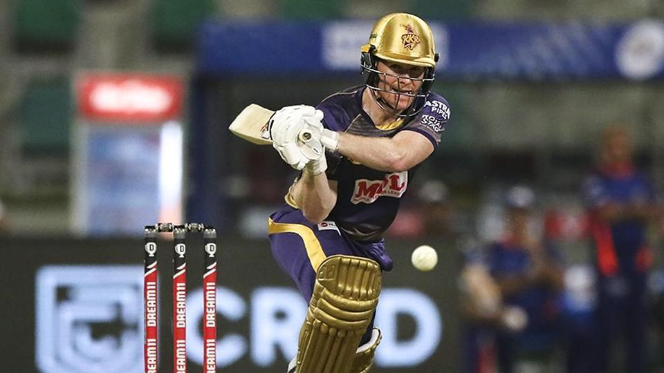 Kolkata Knight Riders batsman Eoin Morgan plays a shot during IPL 2020 cricket match against Mumbai Indians.