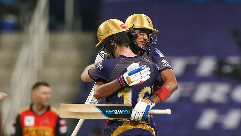 Shubman Gill and Eoin Morgan of Kolkata Knight Riders celebrates their win against Sunrisers Hyderabad in Indian Premier League 2020 cricket match at the Sheikh Zayed Stadium, Abu Dhabi.