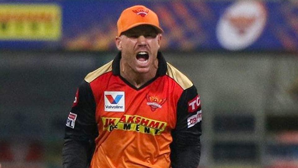 Skipper David Warner of Sunrisers Hyderabad reacts after the dismissal of Sunil Narine of Kolkata Knight Riders.