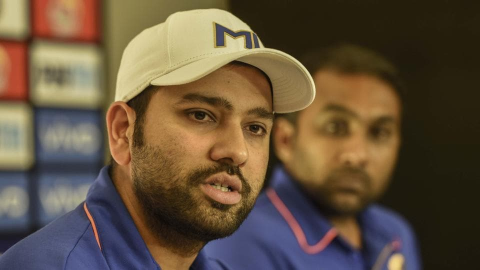Mumbai Indains captain Rohit sharma during a press conference on the eve of Mumbai Indians and Chennai Super Kings final match at City Hotel in Hyderabad.