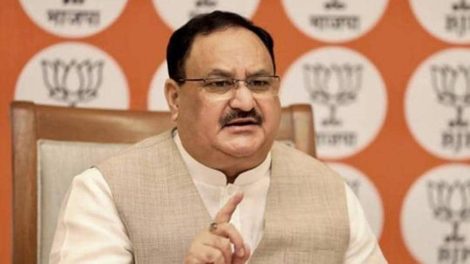 BJP national president JP Nadda interacting with National Gen Secy (Org) & MPs, state president, state gen secy (Org), state Prabhari of various states via video conferencing in New Delhi in July 13, 2020.