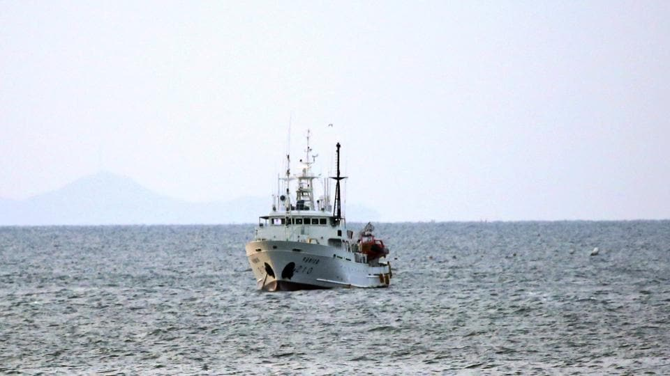 South Korea's government ship for a fishery guidance is seen near Yeonpyeong island, South Korea on Saturday.